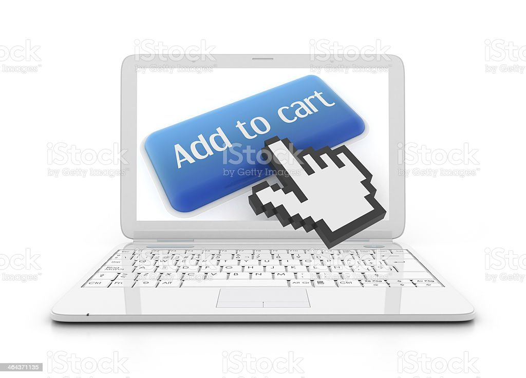 Laptop with add to cart button royalty-free stock photo