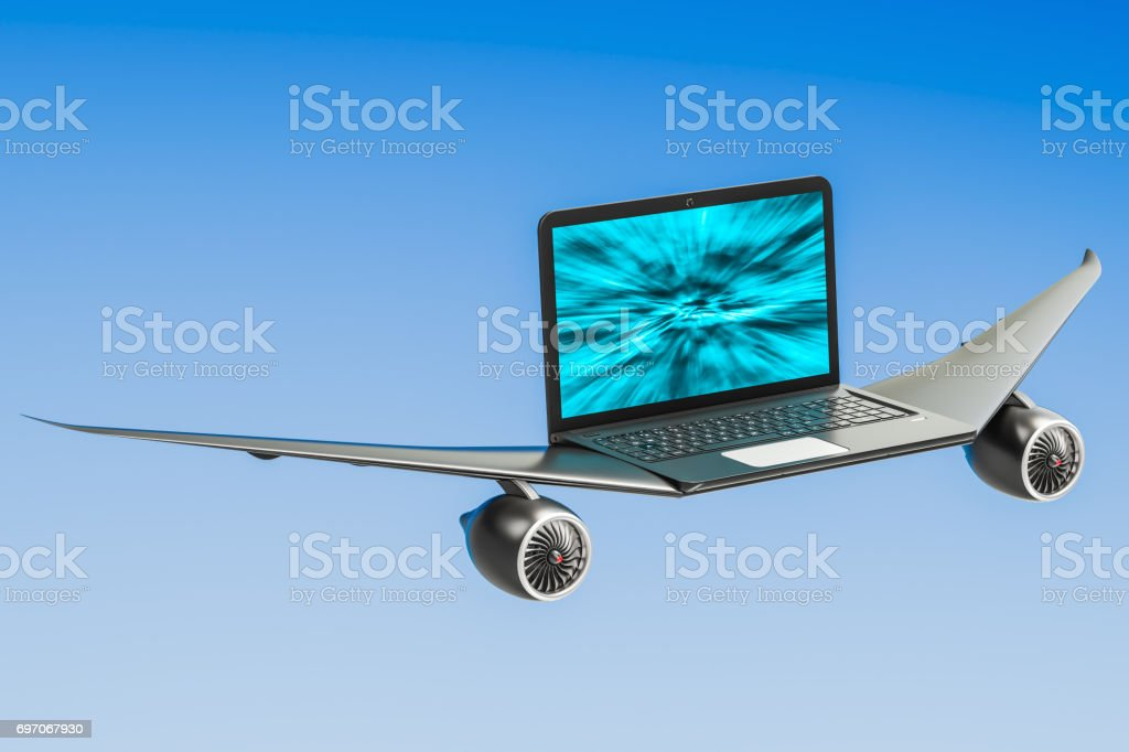 Laptop with airplane wings, turbo boost concept. 3D rendering stock photo