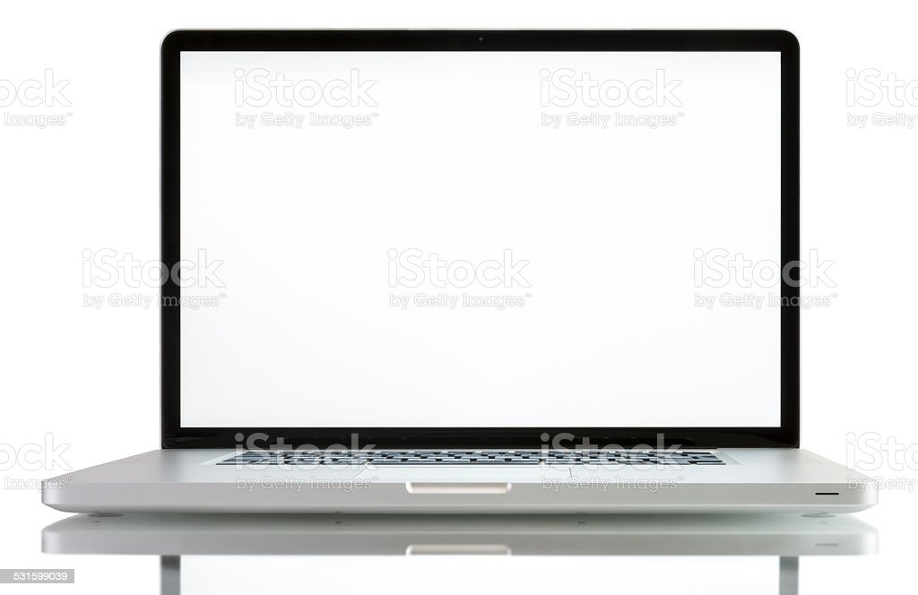 Laptop with blank white screen stock photo