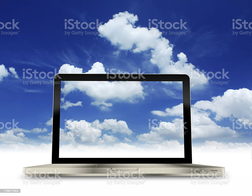 Laptop with Blue sky background. royalty-free stock photo