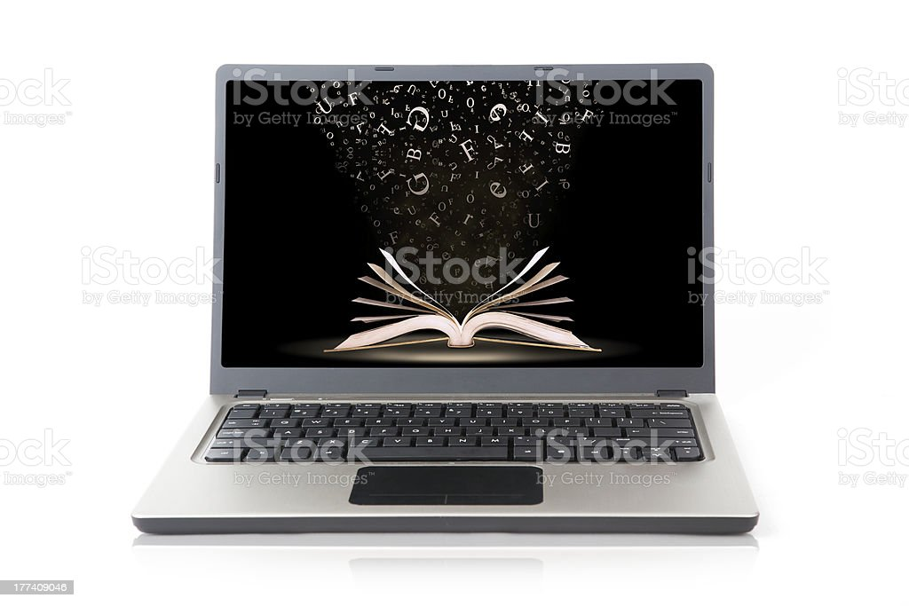 Laptop with book wallpaper isolated on white royalty-free stock photo