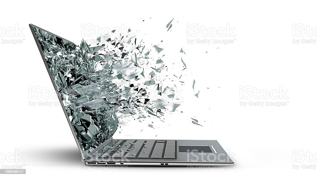 laptop with broken screen stock photo