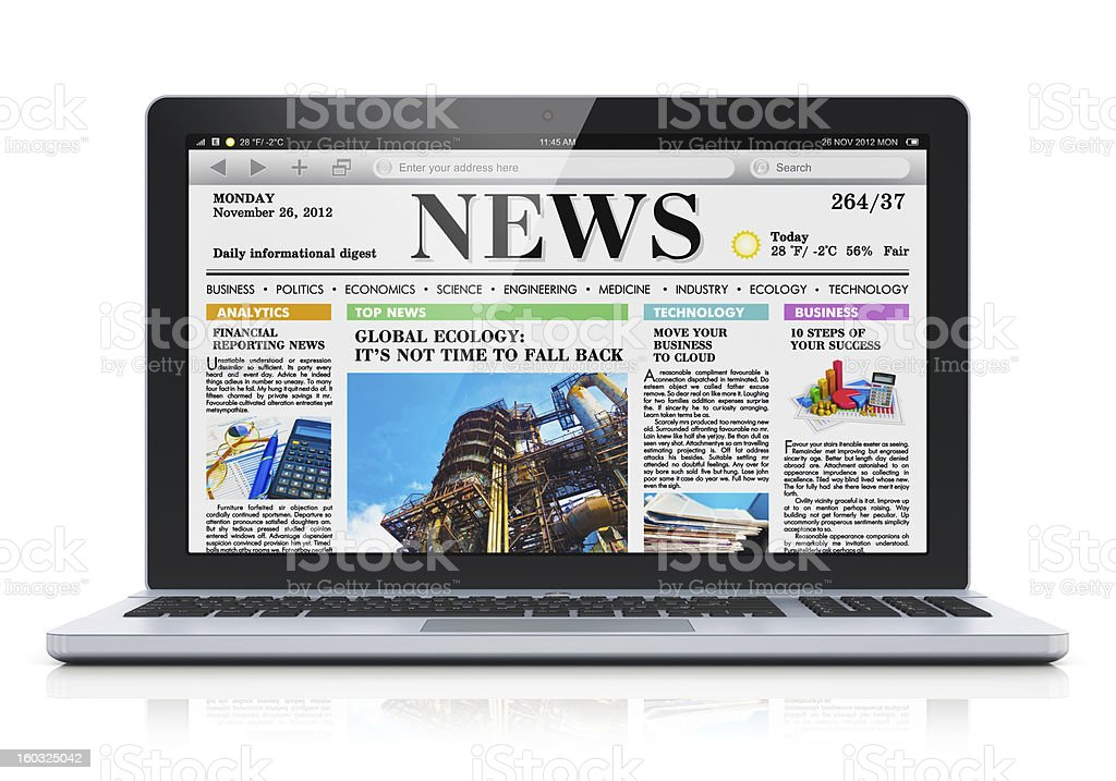 Laptop with business news site on screen stock photo