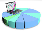 laptop with business or profits growth bar graph, 3d render