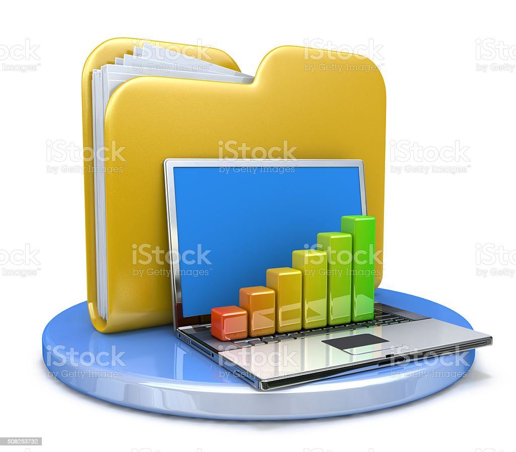 laptop with chart and file folder stock photo