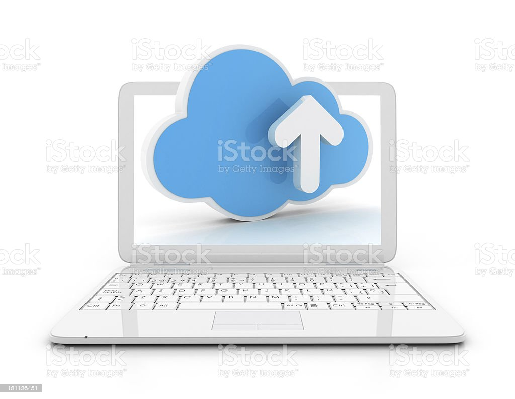 Laptop with cloud and arrow royalty-free stock photo