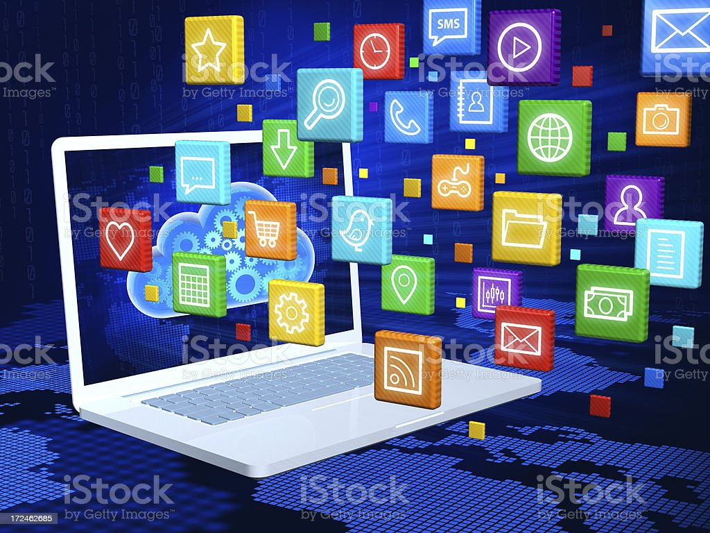 Laptop with cloud of application icons royalty-free stock photo