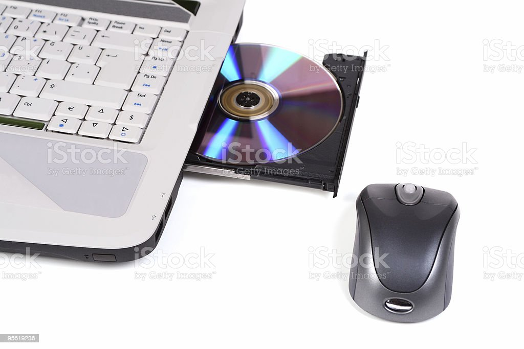 Laptop with DVD drive stock photo
