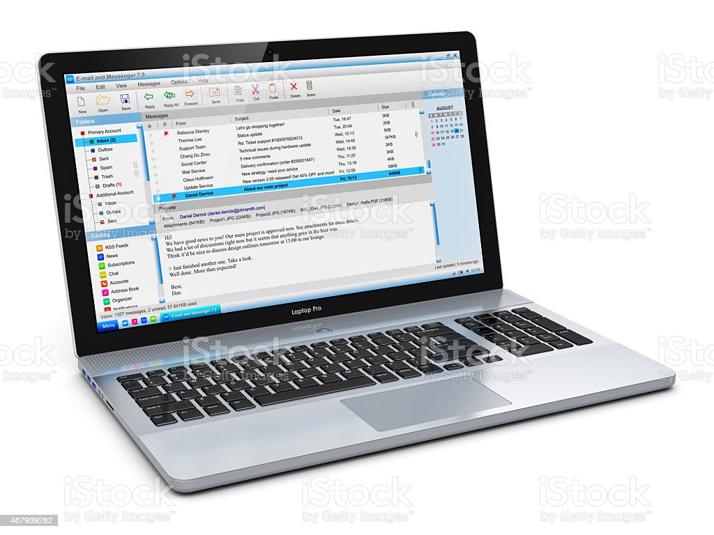 Laptop with e-mail client stock photo