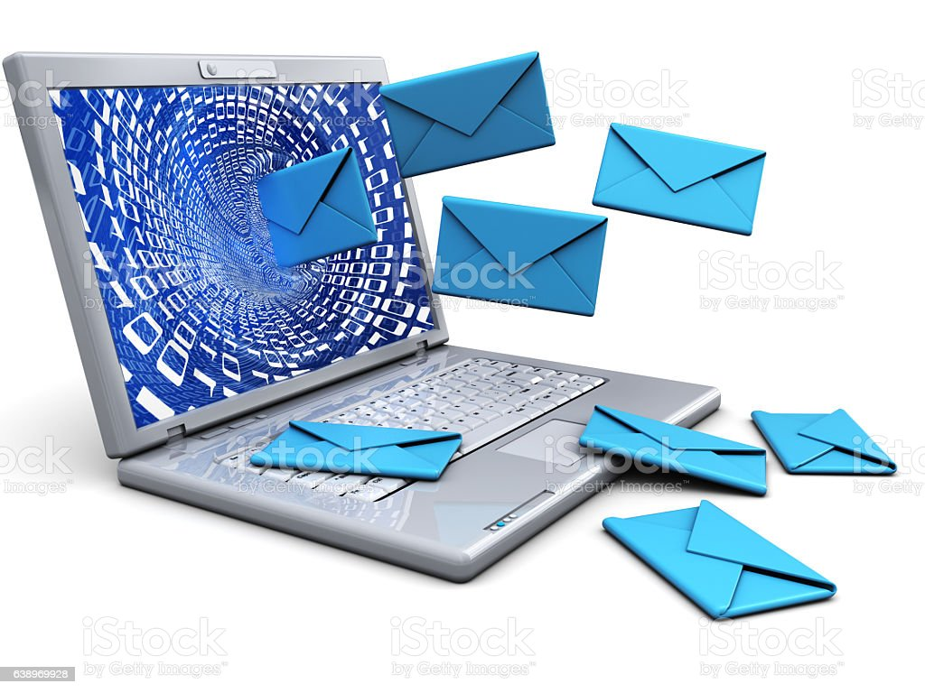 laptop with emails stock photo
