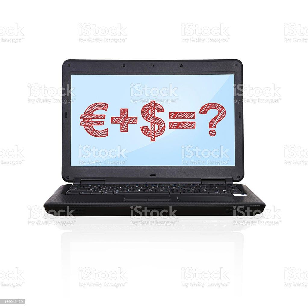 laptop with formula royalty-free stock photo