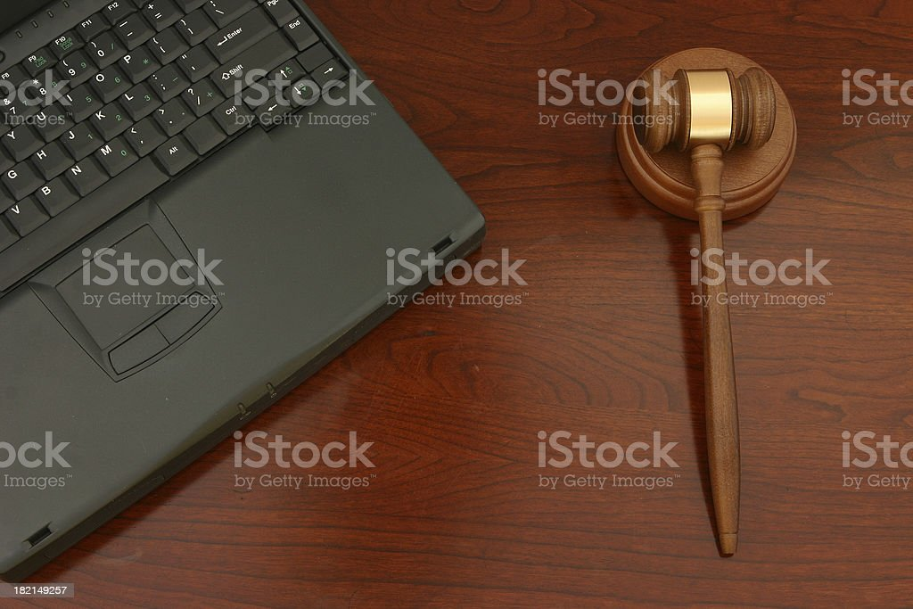 Laptop with Gavel royalty-free stock photo