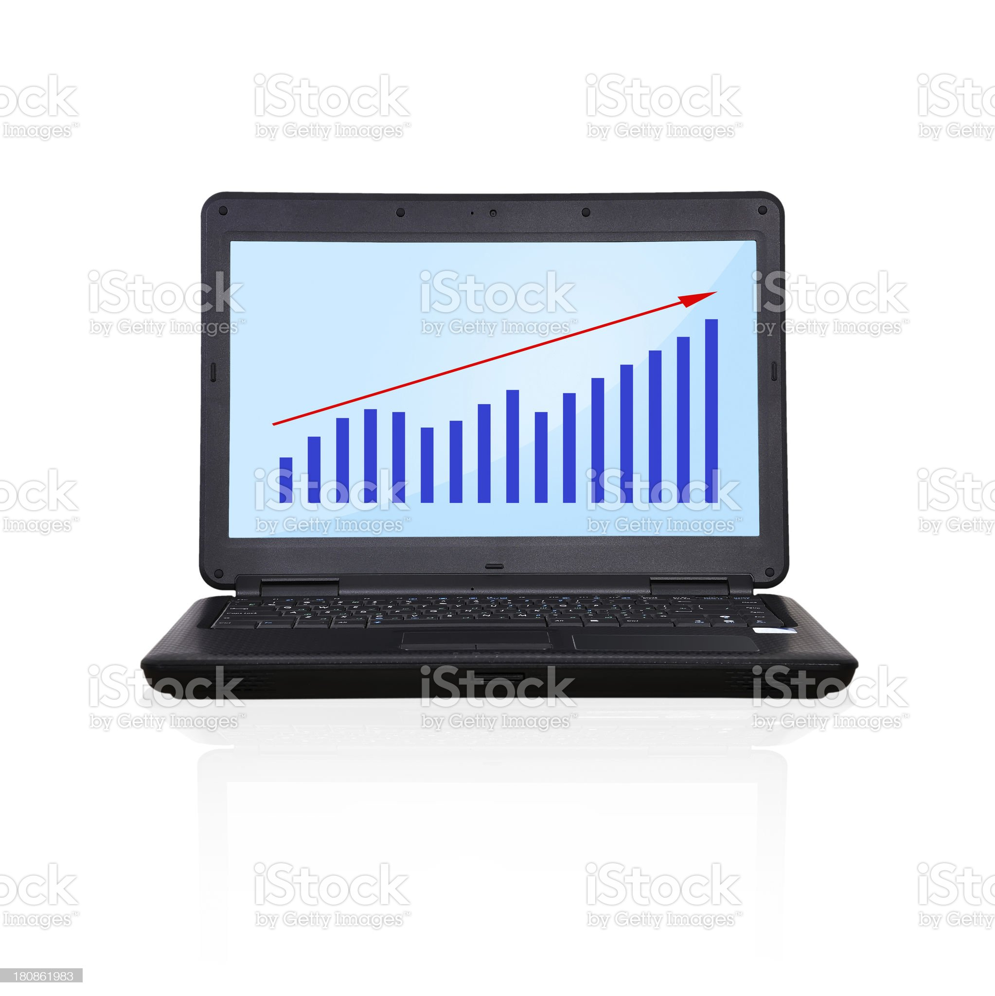 laptop with graph royalty-free stock photo