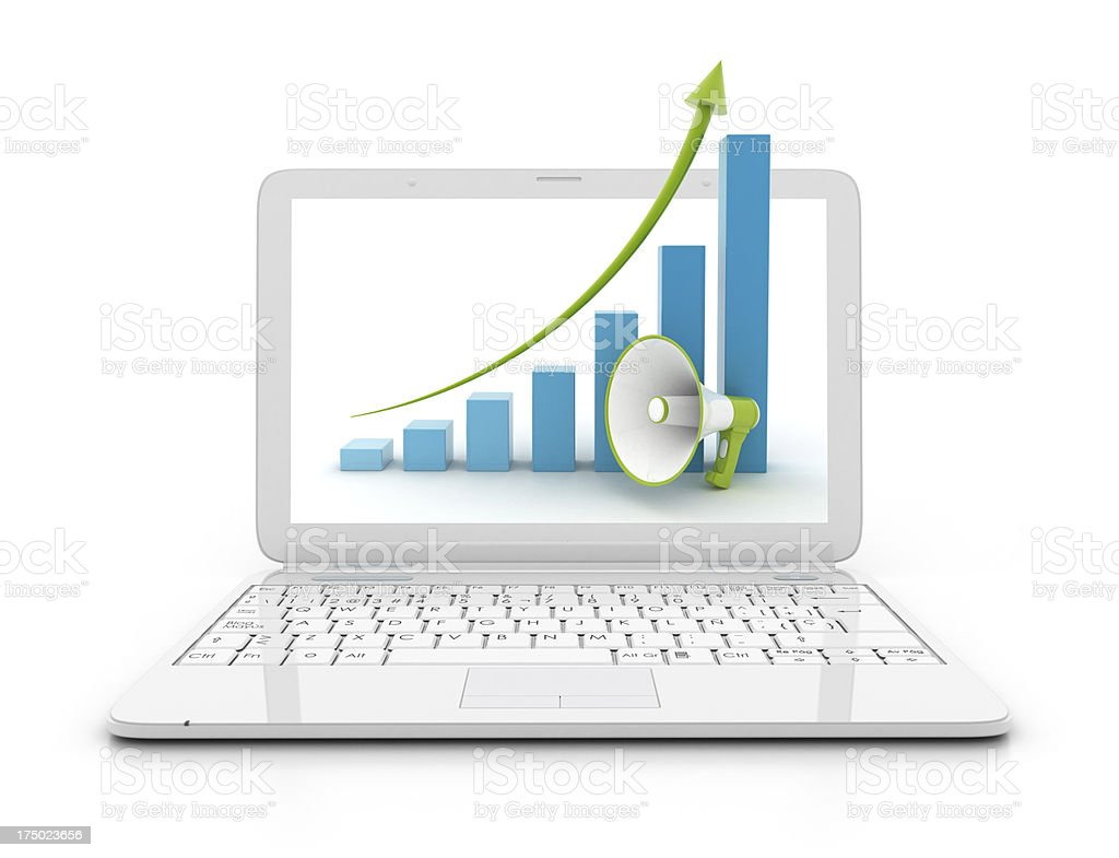 Laptop with Height chart and megaphone royalty-free stock photo