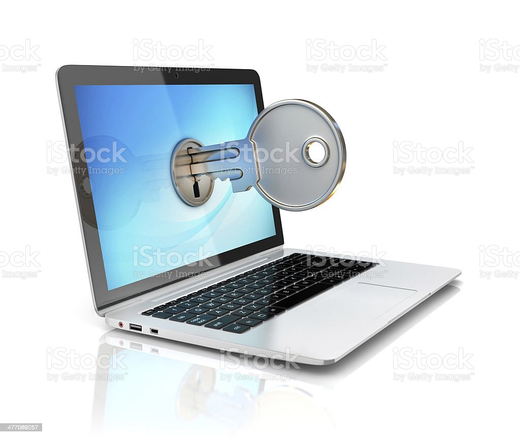 laptop with key lock on display stock photo