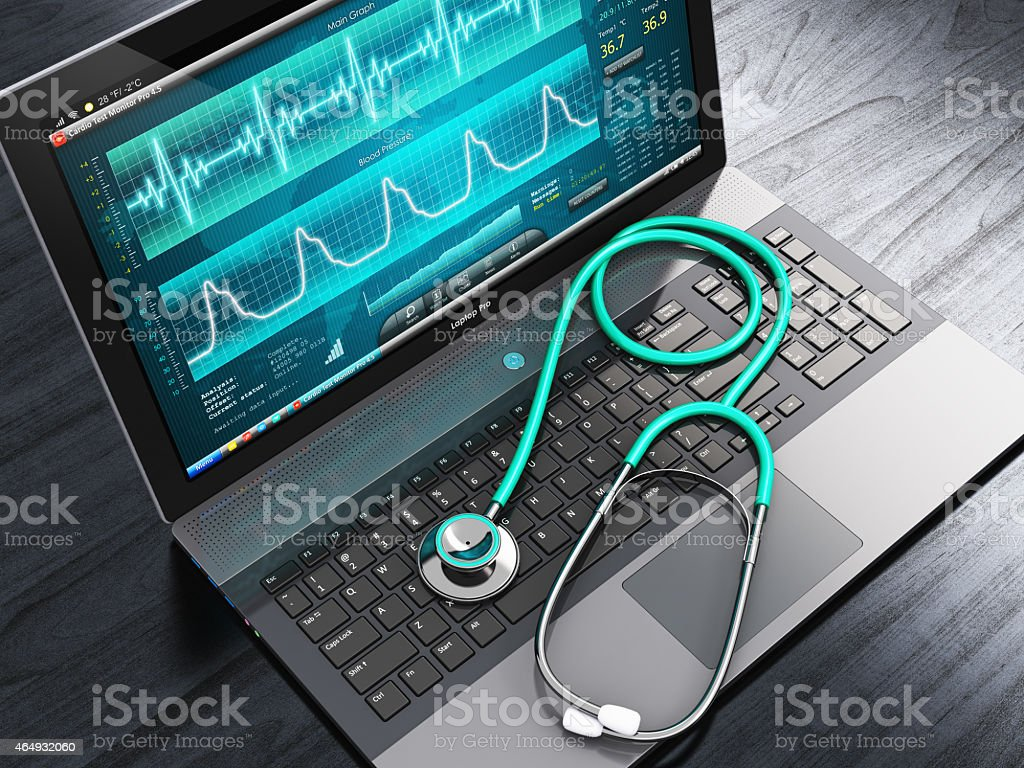 Laptop with medical diagnostic software and a stethoscope stock photo