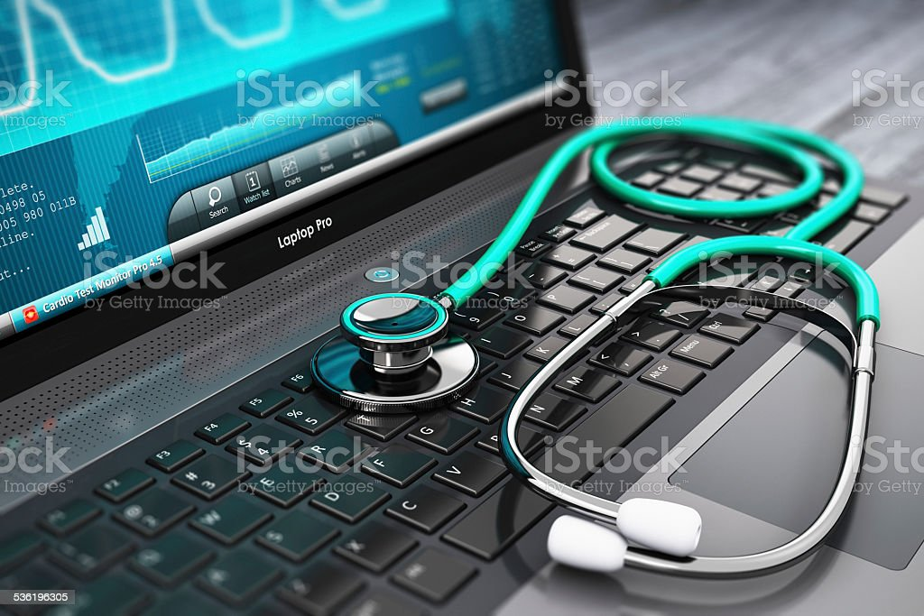 Laptop with medical diagnostic software and stethoscope stock photo
