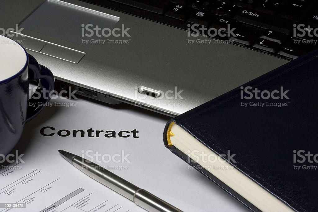 Laptop with notebook and pen royalty-free stock photo
