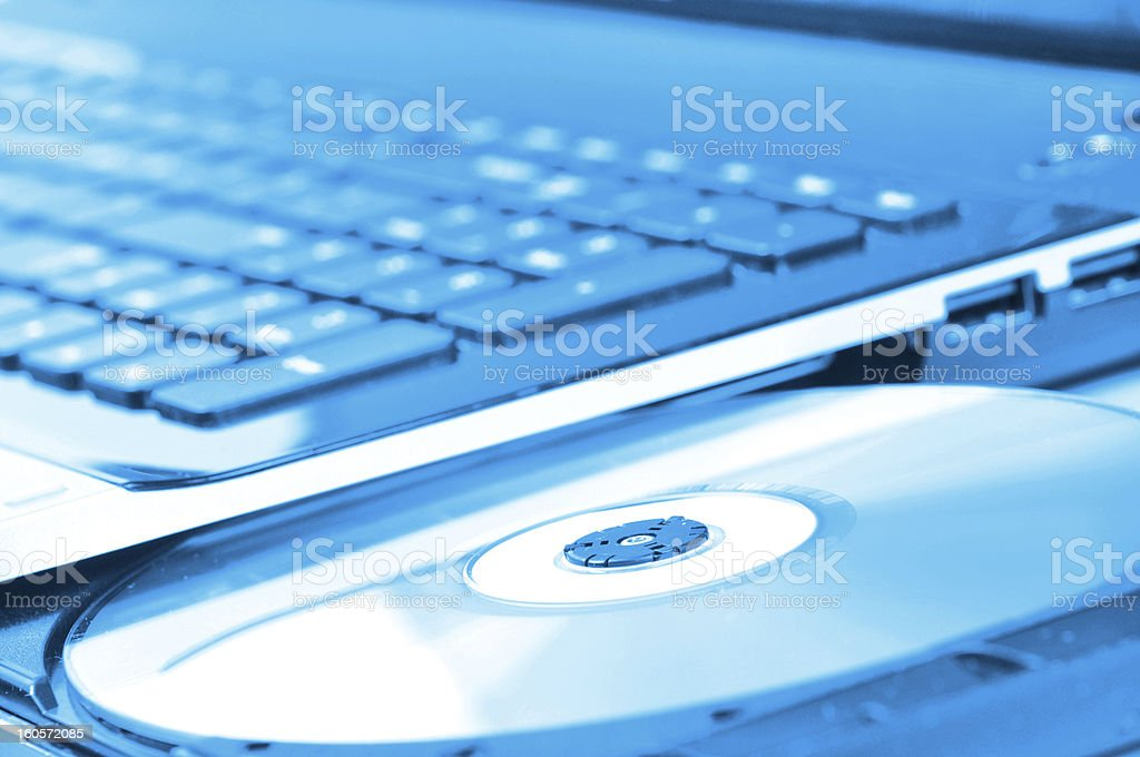 Laptop with open CD drive royalty-free stock photo