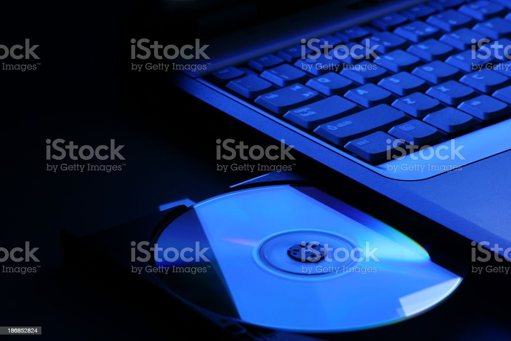 Laptop with open dvd drive royalty-free stock photo