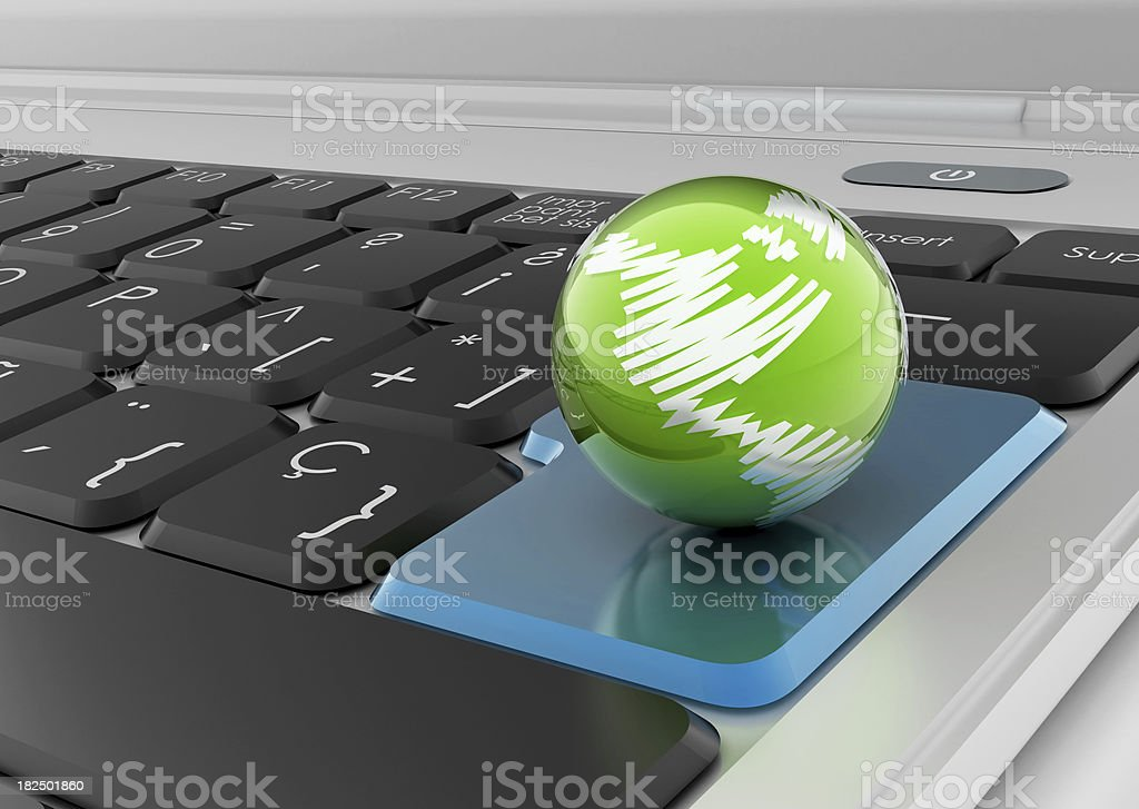 Laptop with Planet royalty-free stock photo