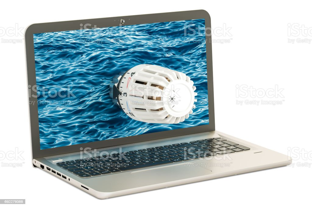 Laptop with radiator thermostatic valve. 3D rendering isolated on white background stock photo
