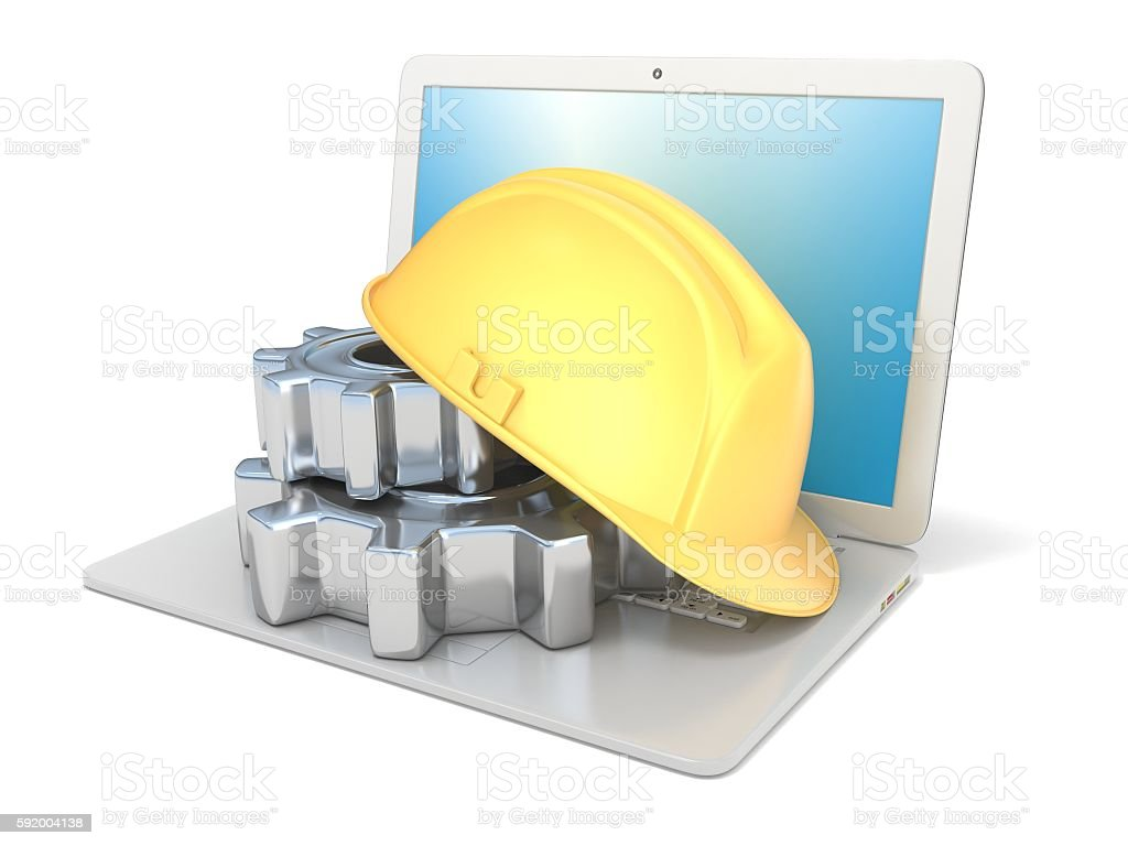 Laptop with safety helmet and gear wheels. 3D stock photo