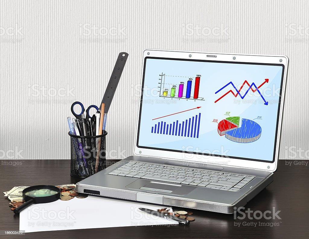 laptop with scheme royalty-free stock photo