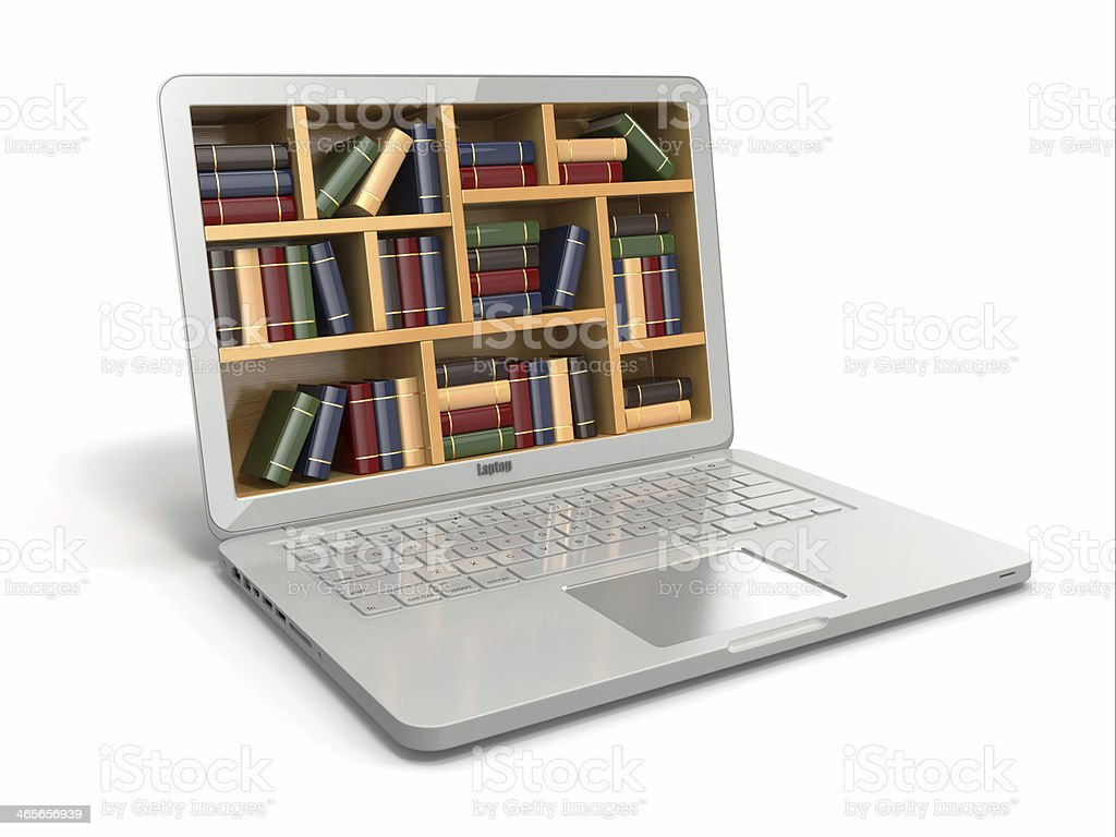Laptop with shelves of books on screen royalty-free stock photo