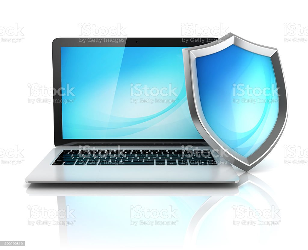 laptop with shield - internet security, antivirus or firewall stock photo
