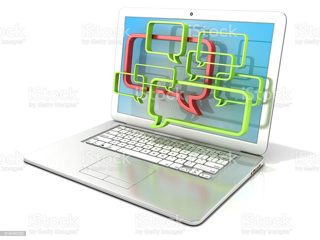 Laptop with speech bubbles. 3D concept of internet blogs stock photo