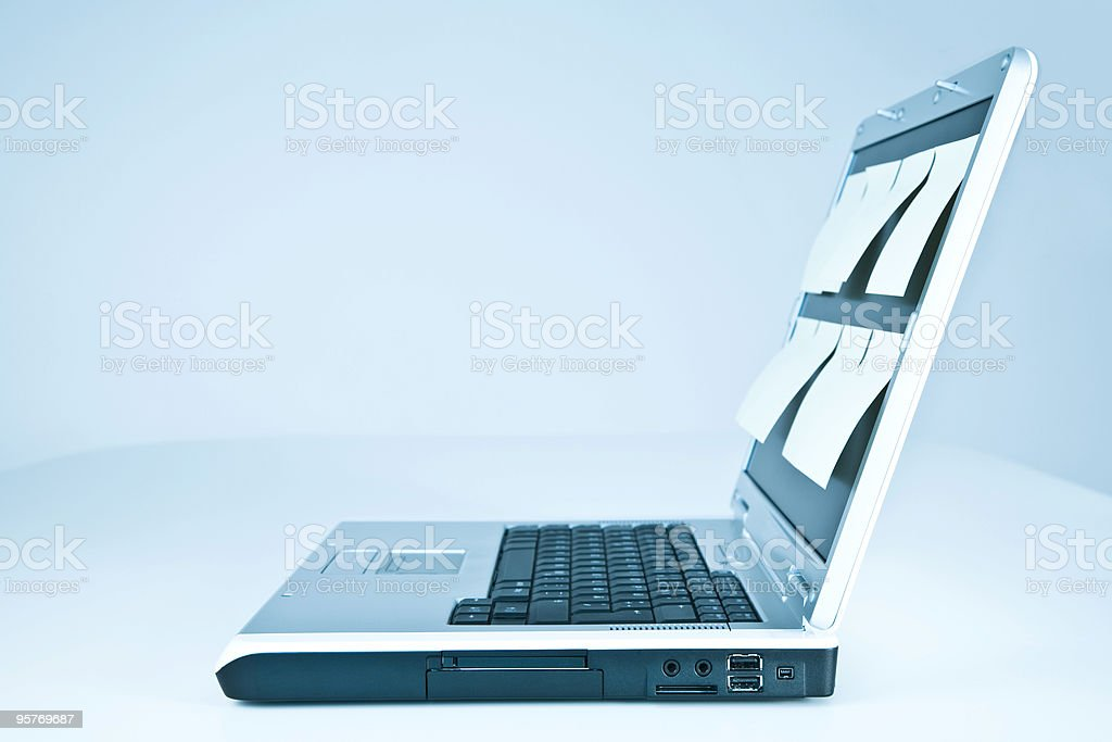 Laptop With Stick Notes in Blue royalty-free stock photo