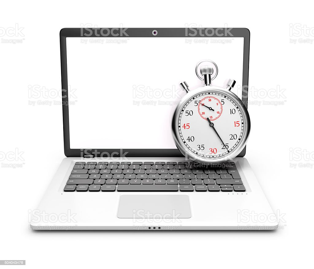 Laptop with stopwatch on a white background. royalty-free stock photo