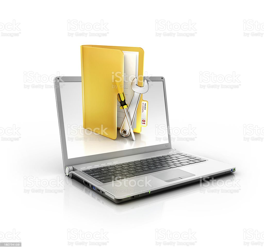 laptop with support and maintinance tools folder stock photo