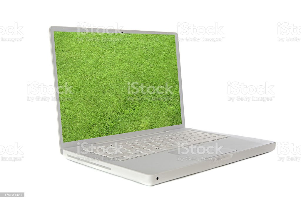 Laptop with the image of a green grass royalty-free stock photo