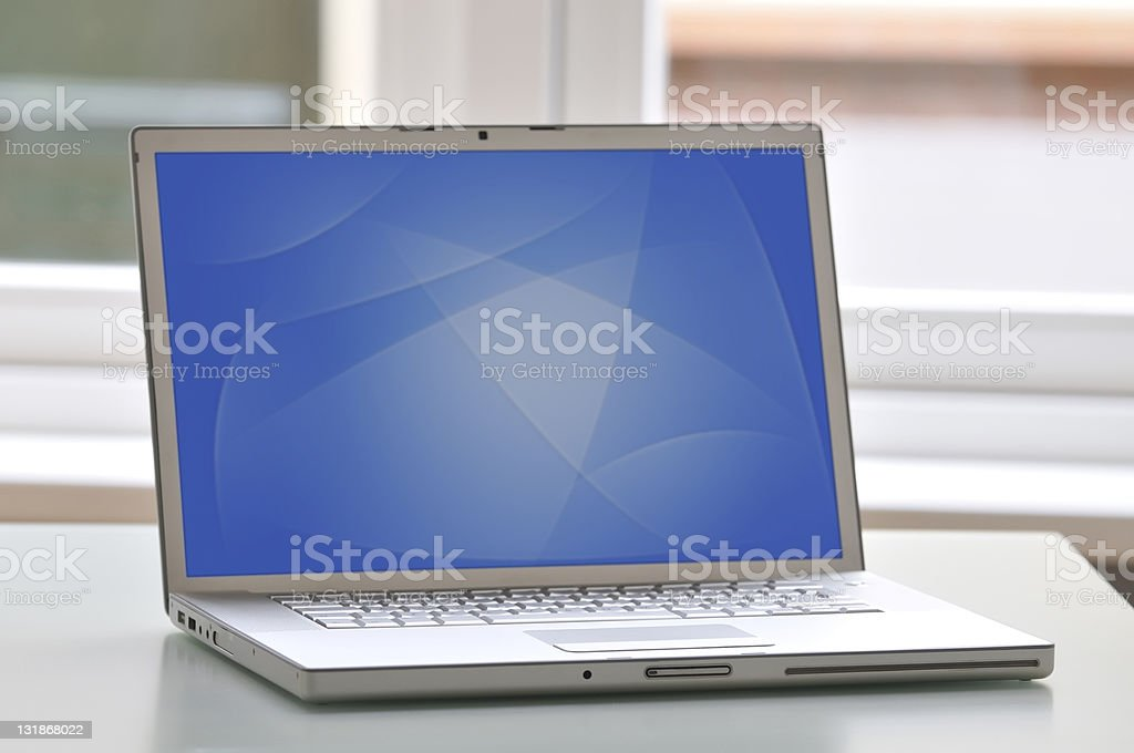 Laptop with wallpaper royalty-free stock photo