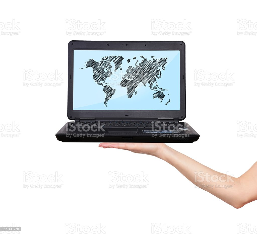 laptop with world map royalty-free stock photo