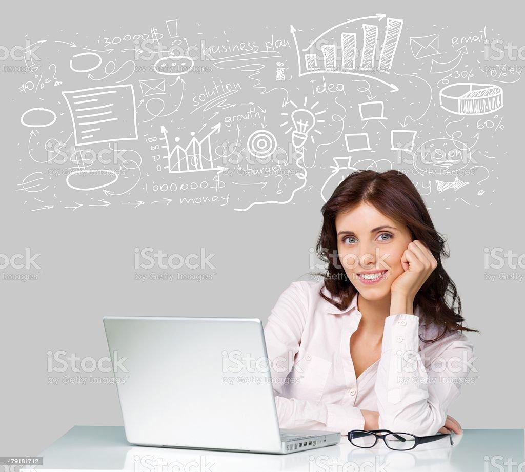 Laptop, Women, Computer stock photo