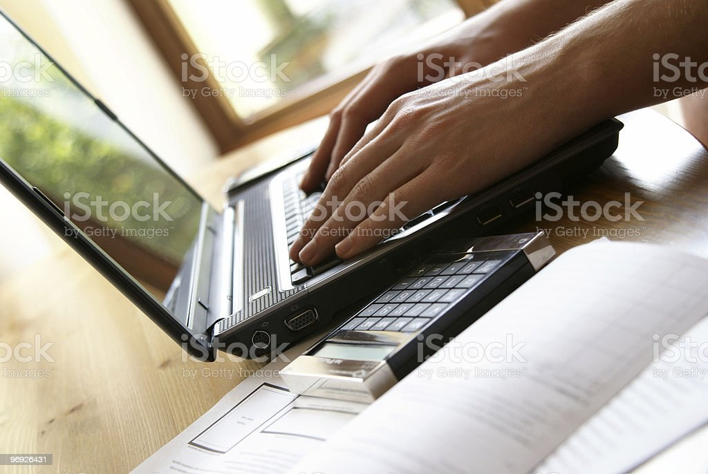 Laptop work in home royalty-free stock photo