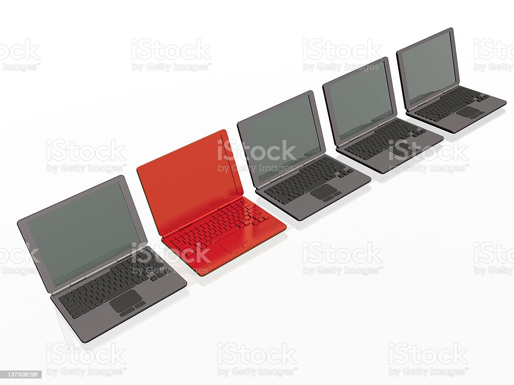 Laptops - red and greys royalty-free stock photo