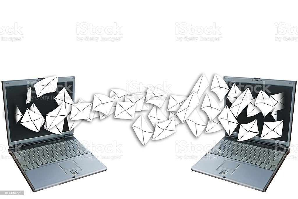 Laptops send mail. royalty-free stock photo