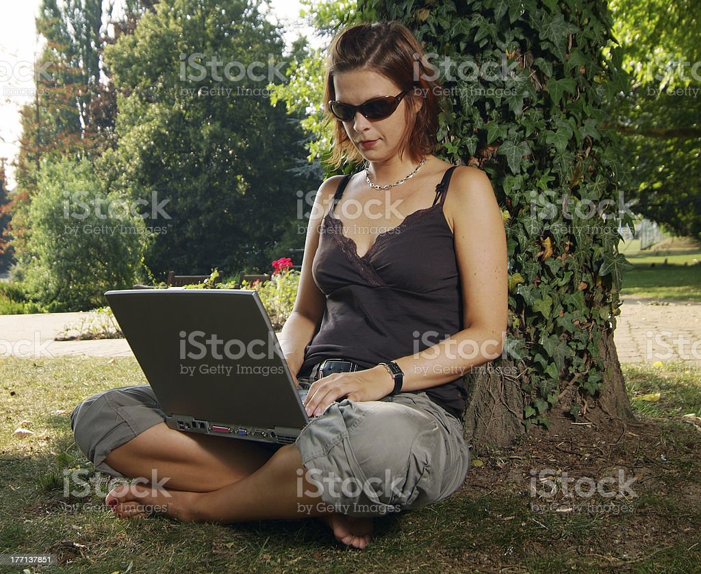 laptop-work in the park royalty-free stock photo