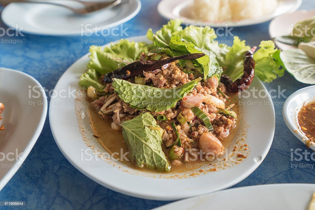 Larb, duck mince with spicy taste, Thai food stock photo