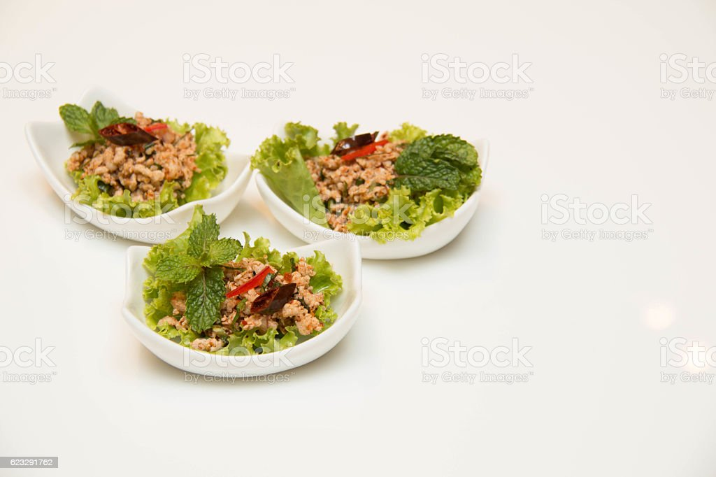 Larb Gai, spicy chicken,close up stock photo