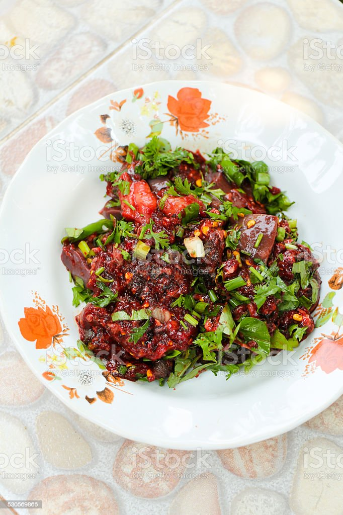 Larb Luad, Bloody Foods stock photo