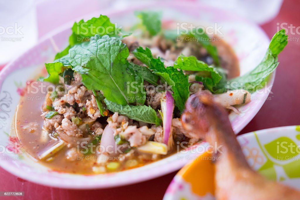 Larb pork salad. This food is north-east of Thailand stock photo