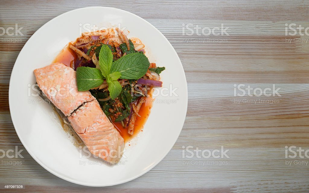 Larb Salmon stock photo