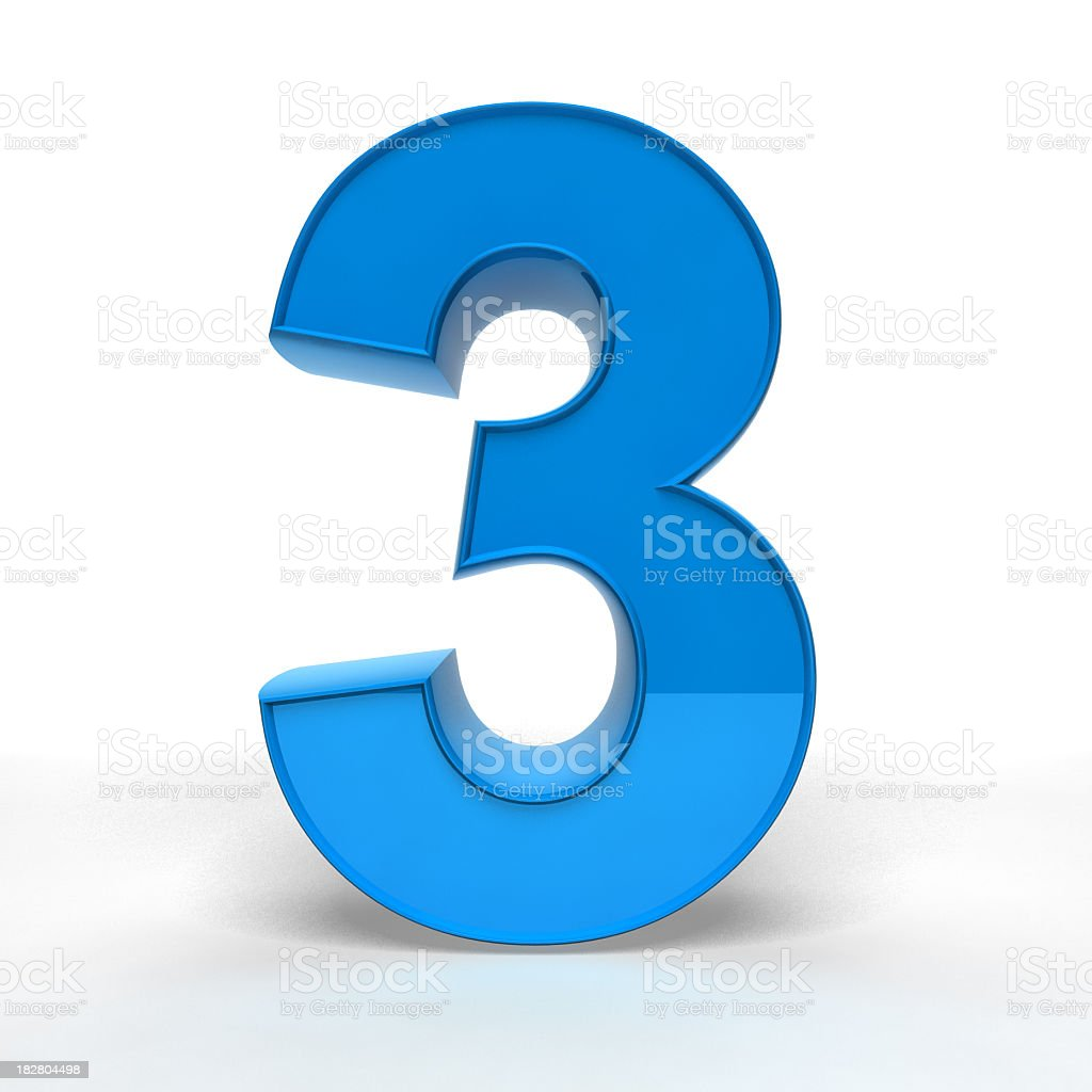 Large 3D model of a blue number three stock photo