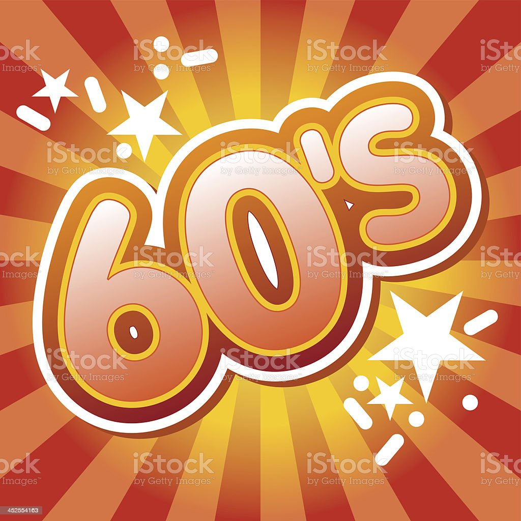 Large 60s sign surrounded by red and yellow colors stock photo