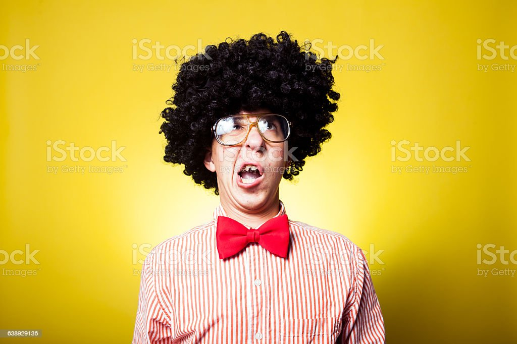 Large Afro Confused Nerdy Student Portrait stock photo
